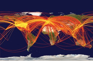 Global challenges globalization the national academies the movement of people around the globe depicted here in a map of air traffic publicscrutiny Gallery